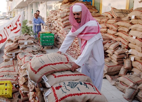 Zakat-uk-Fitr rice Jeddah Saudi Arabia