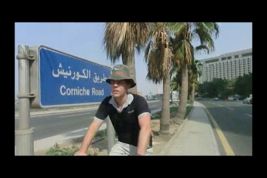 Cycling along the Corniche.