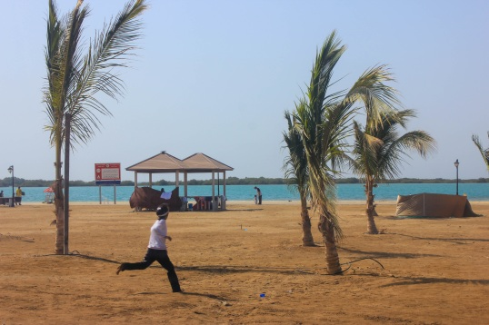 Fresh air, blue sky, warm waters and soft sand. An ideal place for children to run and play.