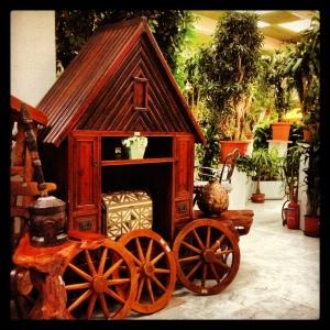 Wooden Cart at Fayfa Garden Centre, Tahlia Street, Jeddah, Saudi Arabia.
