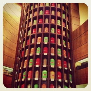 The Awesome Tea Tower full of various tea leaves stored in colour-coded canisters, Jeddah, Saudi Arabia.