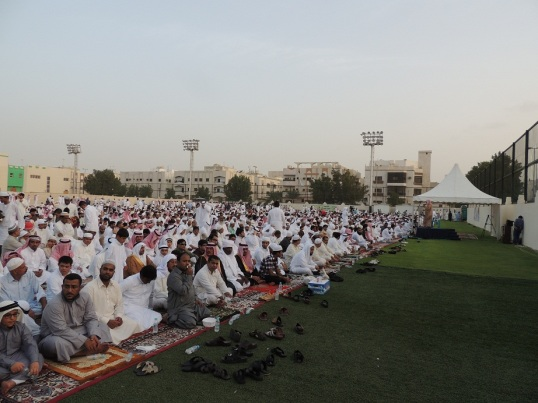 Saudi, Arab, and South Asian Muslims gathered in Ahli Stadium Eid ground, for the Eid Prayers.