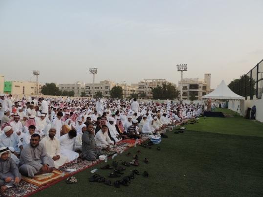 Saudi, Arab, and South Asian Muslims gathered in Ahli Stadium Eid ground, for the Eid Prayers.