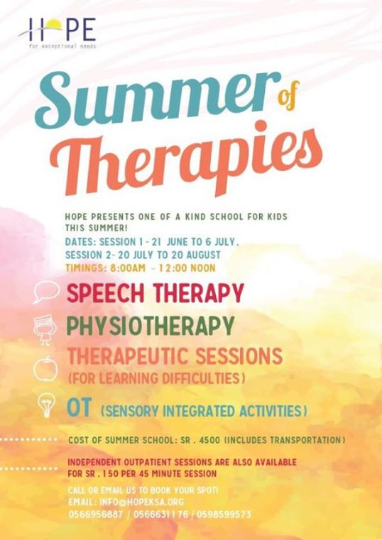 summer of therapies Hope Center